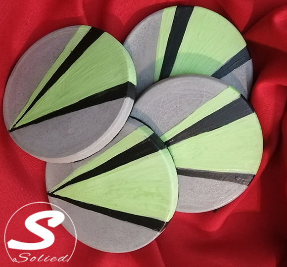 Solied Funky Green Cement Coasters