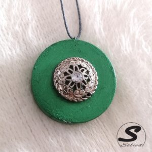 Green and Antique Silver Pendant